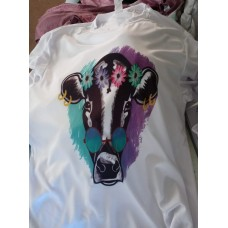Custom t shirt hippie cow